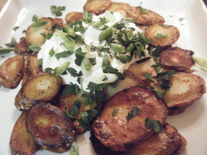 Fried Parsnips with Sour Cream and Green Onions
