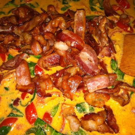 Creamy BLT + Wilted Spinach Pasta (42)