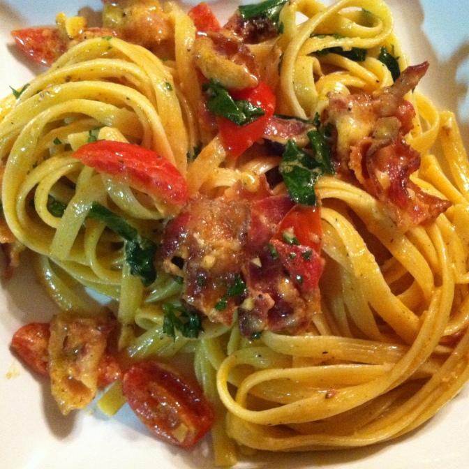 Creamy BLT + Wilted Spinach Pasta