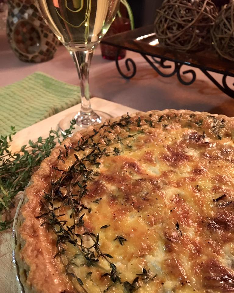 ham + caramelized onion quiche