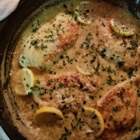 Lemon Chicken Scallopini + Garlic Lemon Cream Sauce