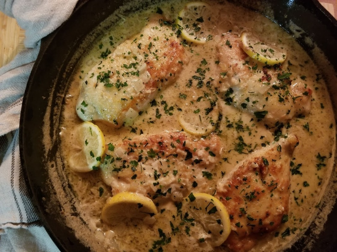 lemon chicken scallopini + garlic lemon cream sauce 3