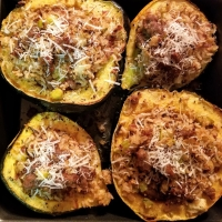 Sausage Apple + Wild Rice Stuffed Acorn Squash